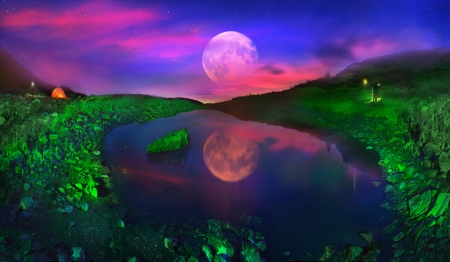 On the slopes Pop Ivan Maramorosh is a crystal clear lake. At dawn, we covered slopes around the green lantern light, achieving the unreal fairytale effect. Rising Moon turns Carpathian landscape in fantasy 版權商用圖片