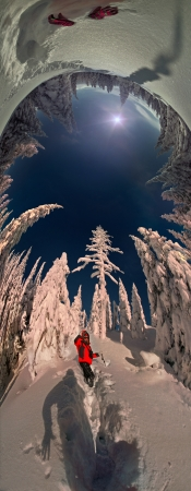 Cyclorama 360 degree with a person walking on the climb-shows in an unusual perspective, the future world of the mountain winter in the wild lands of Eastern Europe   photo