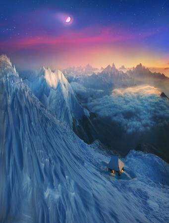 無限山のピークの旅行者を魅了して幾度も山に彼を呼び出す