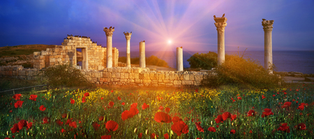 millennial: On the Black Sea coast of Ukraine, the ruins of the ancient Greek buildings  Crimea, Hersonissos, Sevastopol  Evening blossoming field next to the museum of antiquities with a millennial history memory is preserved  Stock Photo