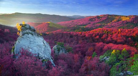 Dovbush Rocks in Bubnyshche - a legendary place, the ancient cave monastery in fantastic boulders amidst beautiful scenic forests, popular with tourists and travelers in Eastern Europe and Ukraine Stock Photo