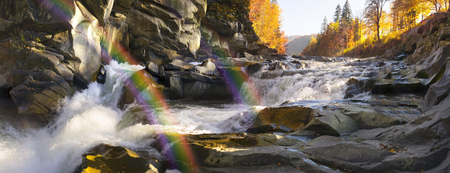 Waterfall Break (Probiy) on the river. Prut - one of the most full-flowing, scenic and popular waterfalls in the Carpathians. Located in the heart of the resort Yaremche, so there is always a lot of tourists.