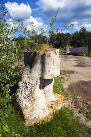 deposed: Ukraine, Yasinya, July 31, 2016: remains of Vladimir Lenin in a ditch. days of the Soviets Lenin monument  concrete idols were in every village now people recover them to the dustbin of history
