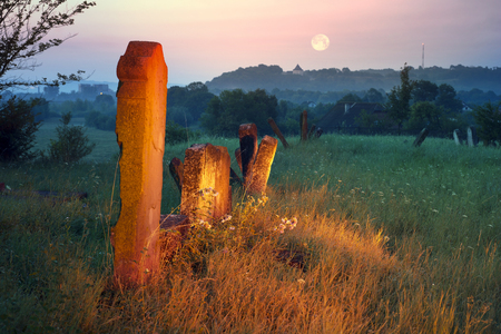hebrew script: At the Karaite cemetery in the village Zalukva near Galich (Ivano-Frankivsk region, Ukraine) remained around 200 gravestone monuments. The oldest of them dated from the mid-XVIII century