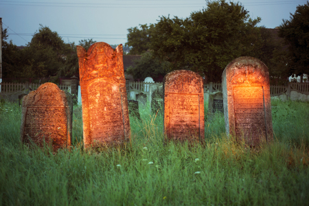 remained: Ukraine, Galich- 24, July, 2015: At the Karaite cemetery in the village Zalukva near Galich (Ivano-Frankivsk region, Ukraine) remained around 200 gravestone monuments. The oldest of them dated from the mid-XVIII century