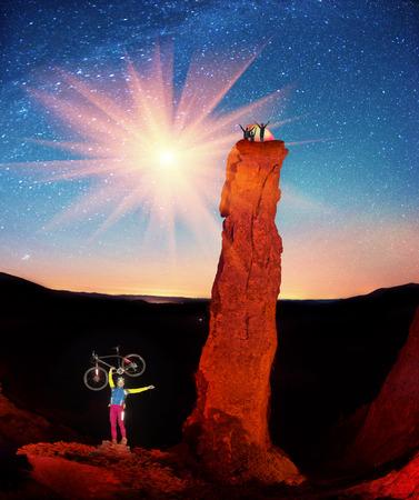 gudgeon: rock Montenegro beautiful figures famous landmark in the tract Gudgeon, Ukraine illuminated artistically beautiful lantern light under a starry nebom which climb athletes  tourists, travelers