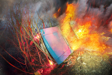ignited: The car went off the track failure faulty brakes on the slopes led to trouble. The driver survived, because the fall was stopped by the bushes on the hillside, but the car ignited and exploded Editorial