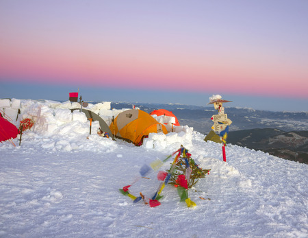 Ukraine, Vorohta- January 1, 2016: Climbers tradition to celebrate the New Year holiday on the highest peak of Ukraine - Goverla, Montenegrin Mountains. Severe frost danger wind