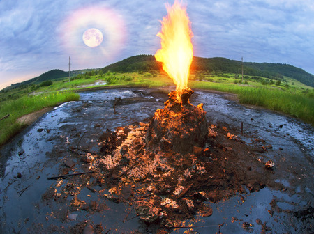 Only in the Carpathians active mud (clay and bitumen) volcano on the outskirts of the village Starunov. Formed in 1977 on the site of an old oil field after the earthquake in Romania. Stock Photo