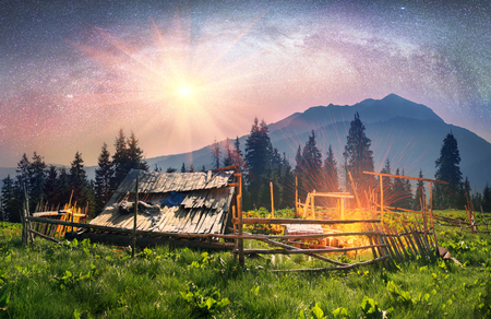 seekers: High in the mountains of the shepherds of sheep and cows build home- seekers and summer graze cattle in wild fields and forests of the Carpathians. Night pasture fantastically fabulous