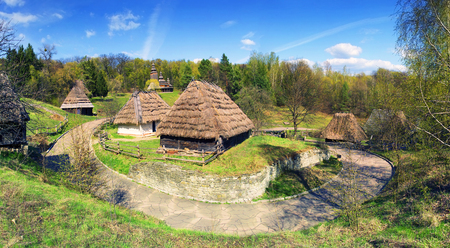pirogovo: Spring in the National Museum of Architecture in Pirogovo, where a rich collection of ancient wooden and stone temples, houses, outbuildings including an abundance of gardens and flowers