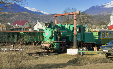 Kolochava, Ukraine - 23 March 2015: Network of narrow-gauge railway was built in the Carpathian region in the late XIX century. In Kolochava on the tracks should train consisting of a locomotive and ten passenger and freight cars. Many tools and devices u