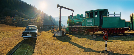 narrowgauge: Kolochava, Ukraine - 23 March 2015: Network of narrow-gauge railway was built in the Carpathian region in the late XIX century. In Kolochava on the tracks should train consisting of a locomotive and ten passenger and freight cars. Many tools and devices u
