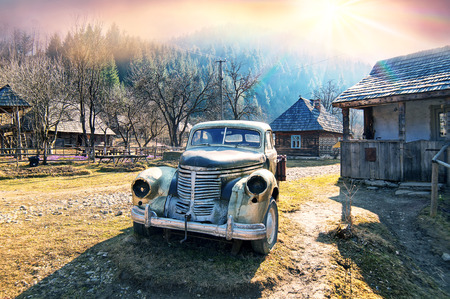 copied: Retro car in the Ukrainian Carpathians shows the life and production of the Soviet Union after the war. Car copied from Western models and attracts tourists with historical curiosities lovers