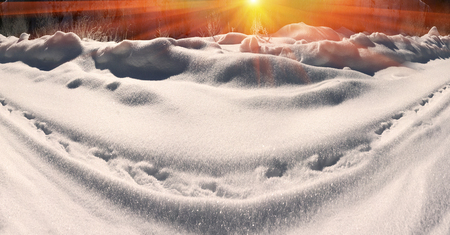 severe weather: Alpine snow crystals after a severe weather threatening and frightening frost all life in the Carpathian Mountains, Ukraine. Beautiful shiny snowflakes at sunrise, whimsical picturesque patterns