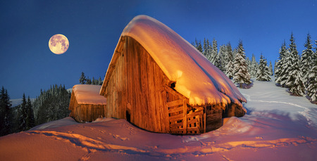 yule log: High in the mountains of the Carpathians is situated the village of shepherds graze cattle where the summer, and in winter there is no one besides climbers and hunters. Illuminated by powerful lights.