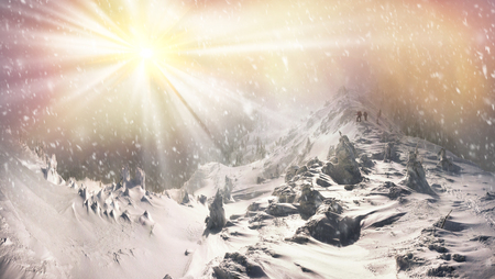 severe weather: Alpine Mountain after a severe weather threatening, menacing and frightening. Hikers and trekkers go to a beautiful sunrise on the ascent of Mount Pop Ivan Carpathians in Black Mountain