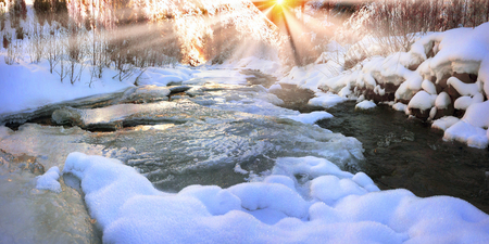 admired: Lace ice frozen moisture admired his tenderness and subtlety. Babbling like a bell, cheerful mountain stream is clean water in the river, which give the water town at christmas