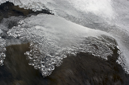subtlety: Lace ice frozen moisture admired his tenderness and subtlety. Babbling like a bell, cheerful mountain stream is clean water in the river, which give the water town at christmas