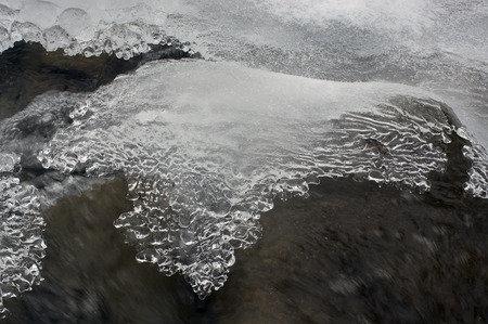 wintrily: Lace ice frozen moisture admired his tenderness and subtlety. Babbling like a bell, cheerful mountain stream is clean water in the river, which give the water town at christmas