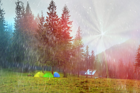 coolness: Alpine autumn panorama, scenic sunrise in the beautiful Carpathian forest after rain shining colors and the freshness and coolness of the morning - will clear the new day and good weather after the storm Stock Photo