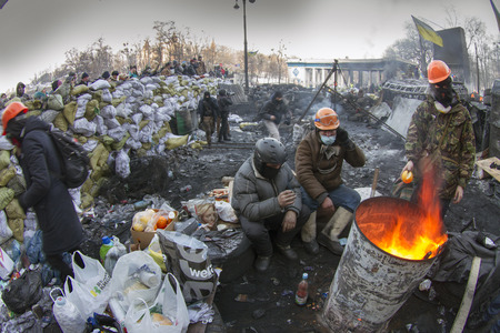 Kiev, Ukraine - January 26, 2014: The barricades on the street were built Hrushevskoho defenders of democracy to stop the advance of the special forces remained loyal to President Yanukovych-squad Berkut