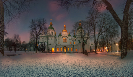 Winter time for special-old Sophia monastery in Kiev . quiet old park, ancient trees and grandeur most revered and beloved Church in Ukraine for citizens and visitors. foundation of the church in the 10th century-