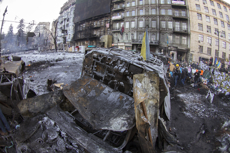 barricades: Kiev, Ukraine - January 26, 2014: The barricades on the street were built Hrushevskoho defenders of democracy to stop the advance of the special forces remained loyal to President Yanukovych-squad Berkut
