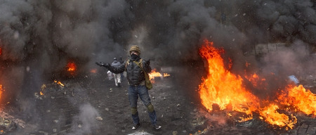 molotov: Kiev, Ukraine - January 20, 2014: The barricades on the street were built Hrushevskoho defenders of democracy to stop the advance of the special forces remained loyal to President Yanukovych-squad Berkut Editorial