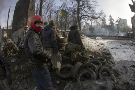 battles: Kiev, Ukraine - January 27, 2014: Temporary truce after-death battles and demonstrators lull, both sides are in their positions, while preparing for the possibility to take the offensive.