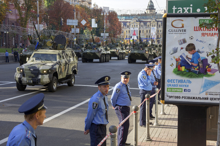 minister of war: Kyiv, Ukraine-August 24, 2014: On the main street of the capital held a parade of the Armed Forces and the National Guard during the aggression of the Russian Federation, the parade of military equipment, holiday orchestra