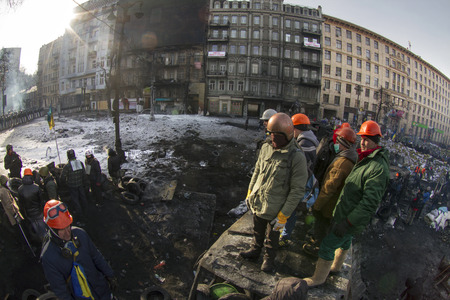 Kiev, Ukraine - January 27, 2014: Temporary truce after-death battles and demonstrators lull, both sides are in their positions, while preparing for the possibility to take the offensive.