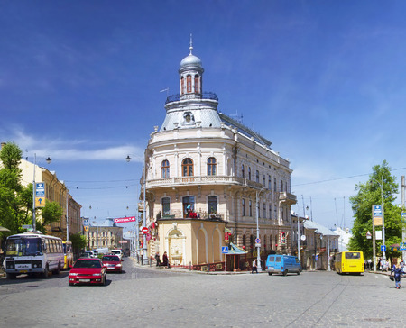 chernivtsi: Chernivtsi, Ukraine-April 27, 2014:Chernovtsy- famous and popular - A symbol of tourism, there are many ancient buildings, monuments, town hall, building-ship, narrow picturesque streets, old cars and the area, walking passers