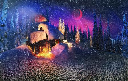 月の出、月の入り、カルパチア山脈のクリスマスの最初のスターを見るために雪に覆われたトウヒ キャノピーを照らすため放棄された小屋で注文す 写真素材