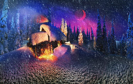 weihnachtsmann: Climbing to tourist wild alpine mountain to an abandoned cabin-in order to illuminate the snow-covered spruce canopy during moonrise, moonset, to see the first star of Christmas in the Carpathians