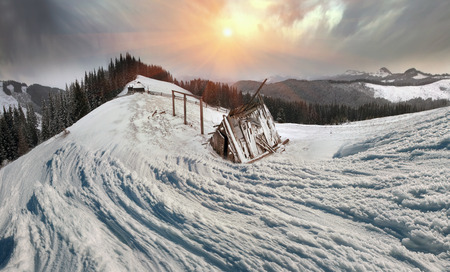 sudden: In March, the sudden cold and blizzard covered mountains, houses a silver snow fencing, morning and evening these days were especially beautiful when the sun breaks through heavy clouds with its rays