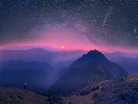 to conceal: A beautiful moonrise in the foothills of the Alps affect the viewers imagination, dense virgin forests on the slopes contribute to conceal the traces of civilization