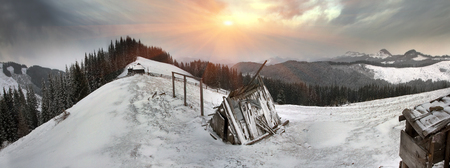 In March, the sudden cold and blizzard covered mountains, houses a silver snow fencing, morning and evening these days were especially beautiful when the sun breaks through heavy clouds with its rays