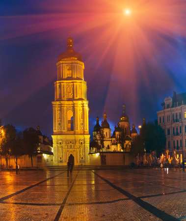 Kiev, Ukraine- September 4, 2013: Sofias Square - one of the oldest areas of the central and Kiev. At the Sofia area is the bell tower of St. Sophia Cathedral and the monument to Bogdan Khmelnitsky. The area is located between the street, Vladimir, Vladi