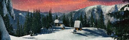 Rogneska マウント ペトロス、モンテネグロ山 Chernogora、Chornohora - 日没の飼いならされた観光提灯で美しく点灯している道内寺院。夏には、羊飼い、そ 写真素材