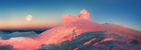 severe weather: On top of the mountain Pop Ivan Montenegro is an ancient Polish observatory, especially beautiful in winter, surrounded by wild mountains. Severe weather freezes its walls, making a magic castle.