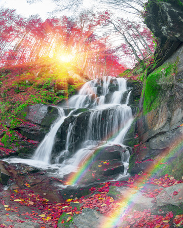 famous alpine beautiful waterfall Borzhava under the mountain village Pylypets ski resort. Cold net rough water fly through the ancient rocks on the background of bright forests in the fog 版權商用圖片 - 74419405