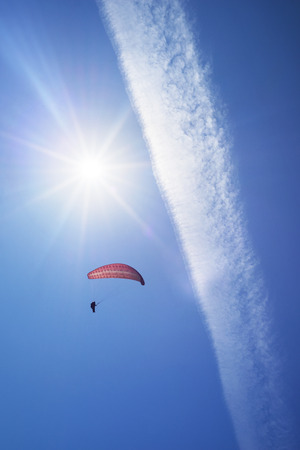 At the top of the river starting point for beautiful sport bold pilots - flying on small aircraft in the updraft in cumulus clouds in a bright sunny day in a good tail wind Stock Photo