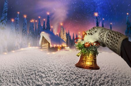 Colorful beautiful composition on a Christmas theme on the background of the mountain landscape of the Carpathians Ukraine Winter spruce tops and cold wilderness of Eastern Europe Stock Photo