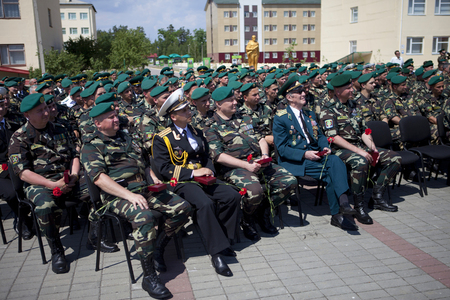 Ukraine, Orshanets, May 25, 2011: Veterans of the war in the border garrison  of the celebration of the feast day of the military border guards chat with modern warriors and a concert