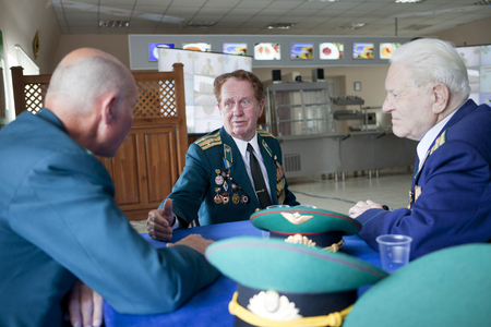 Ukraine, Orshanets, May 25, 2011: President Yanukovych arrived in Cherkasy region in the training center of frontier guards. At this time, the veterans in the dining room was closed. Editorial