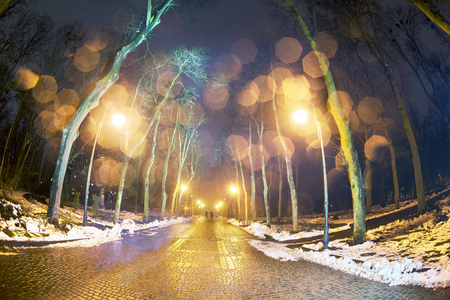 passerby: sleet and rain in winter park after sunset. By the light of lanterns and golden color cold sky between the branches of old trees lone passerby looks at the sad dismal landscape Stock Photo