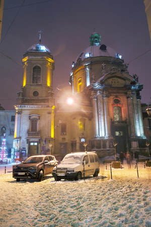 Ukraine, Lviv, January 14, 2017: New Years Christmas walk through the ancient architectural attractions offered to tourists and visitors of the city for travelers to citizens on the square Editorial