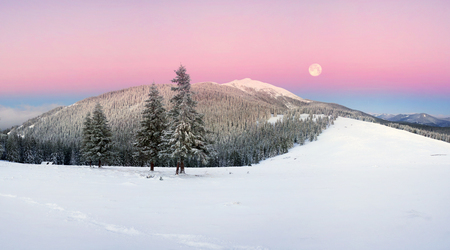 After the storm a strong frost frosted alpine peaks of the Carpathians the bright colors of the rising sun painted the top of the mountains  Synyak Javornik between Yaremche  Vorokhta Stock Photo