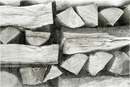 outdoor fireplace: An old film black-and-white image. Warehouse a stack of cut chopped sawn natural firewood in a mountain resort A good ecological and economic option for heating houses and hotels
